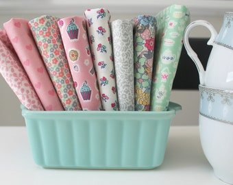 Complete Fat quarter bundle of the Tea for Two quilting cotton collection by Liberty of London - 8 pieces