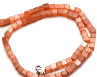 Natural Gemstone Peach Color Moonstone Smooth 3D Cube Beads 5MM 17 Inch Full Strand Box Shape Beads Finished Necklace