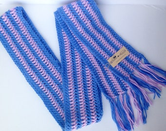 Crochet Striped Skinny Scarf with Fringe, Purple and Lilac