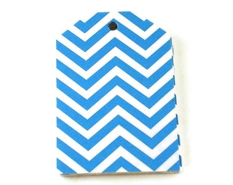 Large Paper Gift Tags in Blue Chevron Set of 20