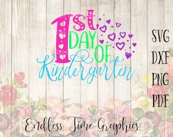 1st Day of Kindergarten SVG. Back to School SVG. SVG Cut File. Kindergarten Vinyl Decal. T-Shirt Decal. 1st Day of School Shirt Diy.  288