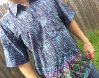 Big and Tall Men's Handmade Indian Woven Cotton Short Sleeve Button Down Pocket Shirt - Stormy H826