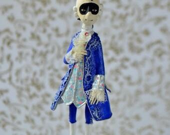 Casanova, OOAK miniature doll, Tiny hanging doll, Miniature Art Doll, hanging art doll, Rococo, doll ornament