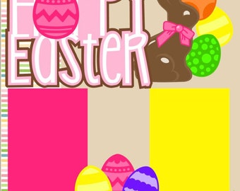 Scrapbook Page Kit Hoppy/Happy Easter-Girl Premade Scrapbook Pages 2-page 12X12 Scrapbook Page Kit or Premade Layout