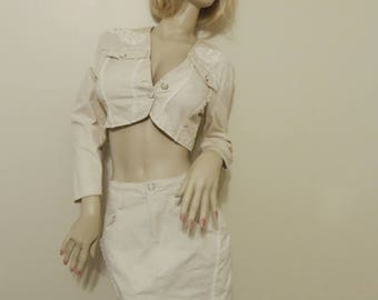 By Choice Sport 2 Piece Cream High Waist Skirt & Cropped Jacket Lace Embroidery Set Size Small