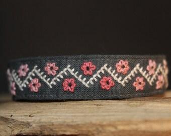 Embroidered Bracelet Pink Flowers Ethnically Feminine Handmade Hand Stitched