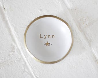 Personalized Ring Dish / Celestial Jewelry Dish / Best Friend Gift / Wedding Ring Holder / Star / Gift for Mom / Girlfriend Gift / Gold