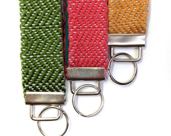 Austin | Handwoven Key Fob Bundle of 3 | Colorful Keychain Set | Gift Trio of Woven Key Fob Wristlets | Textile Key Chain Bracelet Gift Pack