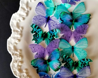 Edible Butterfly Ultra Violet and Turquoise  Cake/ Cupcake Toppers, Cake, Set of 14
