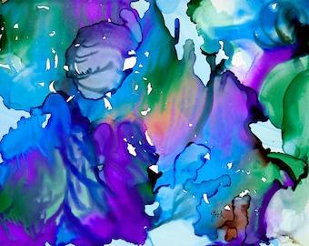 "Cascades, alcohol ink art by Yolanda Koh, 10"" x 8"" Print"