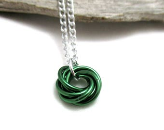 Mobius Chainmaille Necklace - Green Mobius Pendant - Chain Maille Pendant with Chain - Fidget Necklace - Aluminum Necklace - Green Pendant