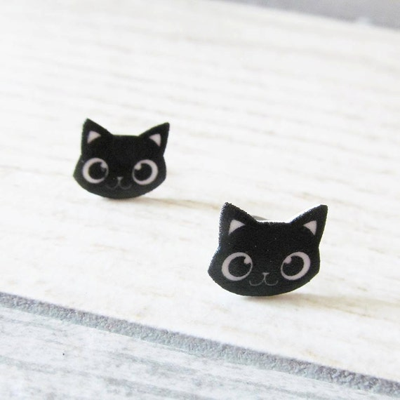 Small, earrings, shrink plastic, cat, black, face, stainless stud, handmade, les perles rares
