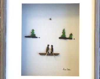 Pebble Art Couple in Canoe Art in a Shadow Box with Matting Modern Wall Art Abstract Contemporary Signed.