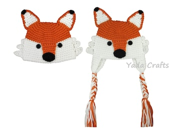 Fox hat, Crochet Baby  fox hat,newborn, ear flap fox hat, outfit,halloween, ear flap fox hat for child, hat outfit, photopop,Baby shower
