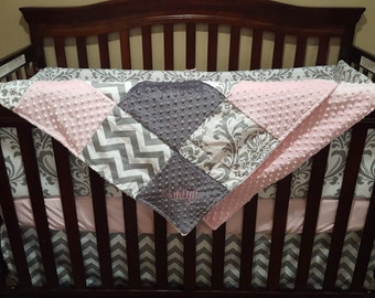 Baby Girl Crib Bedding - Light Pink ,Gray Chevron, and White Gray Damask Crib Bedding Ensemble with Patchwork Blanket
