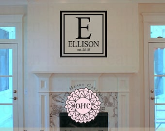 Square Family Last Name Wall Decal with Modern Border Frame and Established Year - Monogram Name Vinyl Wall Art PD0067