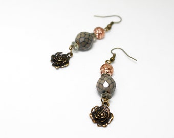 Earrings pink copper and bronze