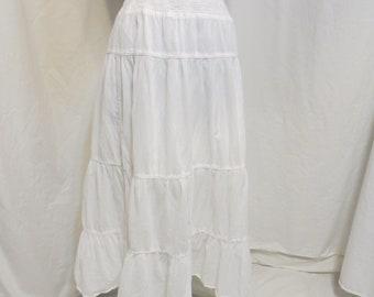 Vintage Indian Cotton Full Ruffled White Skirt 80's Boho M