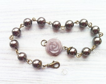 Marie Pearl Bracelet in Brown and Brass
