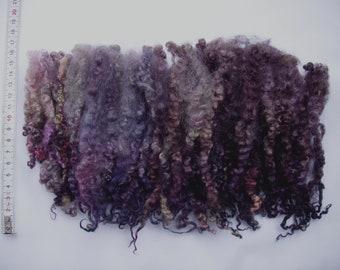 28g (63.93 Euro/100g) 1oz long hand dyed bfl locks, wool curls, wool locks, felting wool, dolls hair, spinning fiber, earthy, 100% wool