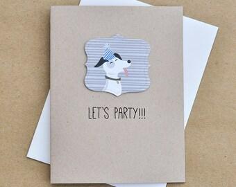 Happy birthday card, Party Dog Birthday Card, Cute Puppy - Lets Party Birthday card, Funny birthday card, (BD01)