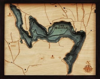 Lake Waramaug Wood Carved Topographic Depth Chart / Map