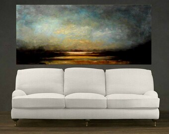 Landscape Painting, Extra Large, Forest Lake at Dawn Original Large Abstract Landscape Oil Painting, Wall Decor, Fine Art