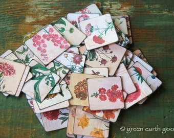 "25 Vintage Flower Stickers, 1.5"" or 2"" squares, Vintage Flower illustrations, botanical stickers, floral stickers, 100% recycled stickers"