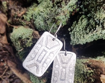 Handmade Sterling Silver earrings with etched design