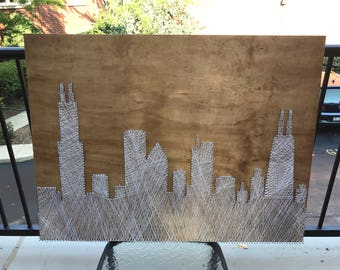 Customized handcrafted Chicago Skyline String Art