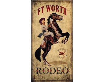 Rodeo Cowgirl, Ft Worth, Texas Souvenir Program Poster