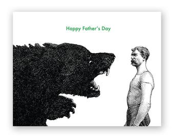 Man versus Bear - Fathers Day Card