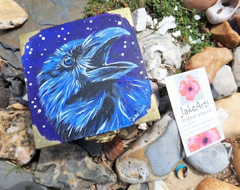 Raven wooden box with Odin stone, raven stone, crow art, gift for him, fantasy art, painted stone, hand painted gift, raven art, crow stone