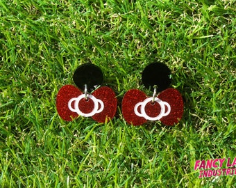 Black and Red Glitter Bow Dangle Studs Made From Laser Cut Acrylic