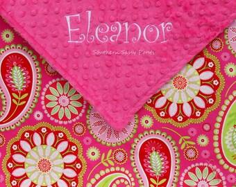 Personalized Blanket. Minky Blanket, Blankets for Girls, Children's Blanket. Kids Blanket, Red and Pink Paisley Blanket for Kids , 36x48