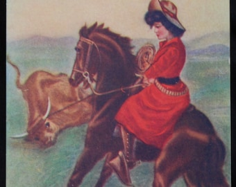 Vintage Cowgirl Postcard Roped