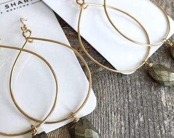 Gold Teardrop Hoops with Pyrite Nugget