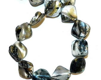 MP1111L Black Diamond Nugget 14mm - 20mm Mother of Pearl Gemstone Shell Bead 15-inch Strand