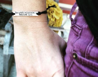 Running jewelry Custom Hand Stamped Bracelet personalized friendship bracelet Custom Name Jewelry Quote Bracelet runners gift inspirational