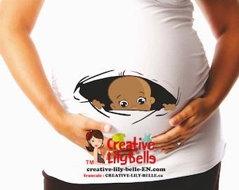 Funny maternity shirt t shirt PEEK A BOO baby MULATO  cm221