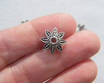 50 Bead cap antique silver tone  FS157