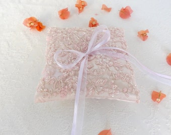Light pink wedding ring pillow. Embroidered floral lace cushion ring. Pale pink ring bearer. Beaded ring pillow