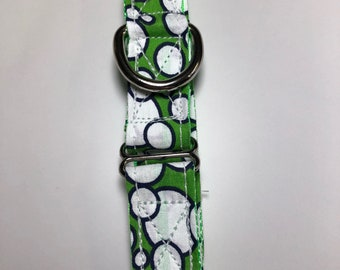 "Green bubbles with green webbing 1"" collar and 6' leash"