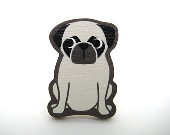Pug Wooden Brooch Pin