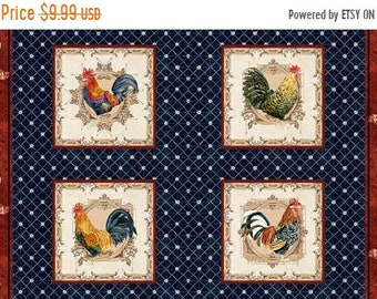 20% off thru Apr 24th ROOSTERS In the Beginning fabrics cotton panel CHICKENS  in squares on blue-1AJB2