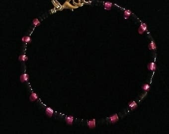 Fushia Pink and Black Beaded Bangle Bracelet