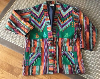 Embroidered Guatamalan Jacket by Cheumax Designs by Deborah Rakes Ethnic Handwoven cotton Plus Size Central South American