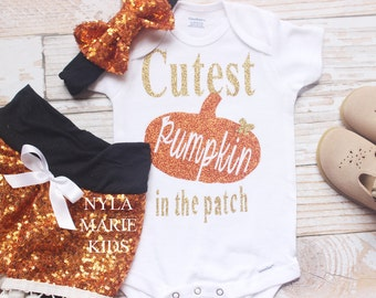 Baby Girl Halloween Outfit, Halloween baby costume, baby Halloween outfit, My first Halloween, Cutest pumpkin in the patch, Orange, Black,