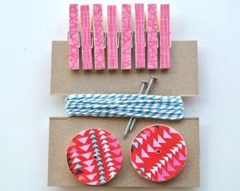 Art Hanging Kit ~ Mini Clothespins ~ Baker's twine ~ Nail Covers - Kid's Art Display Kit  ~ Fabric Scraps ~ Pinks, Reds and Teal