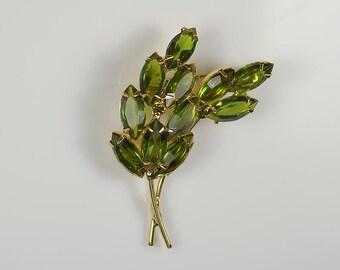 Vintage Olive Green Rhinestone Brooch Crystal Marquis Leaves Pin